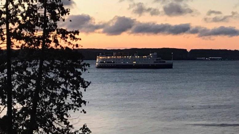 Cruise ship coming into Midland, Ontario